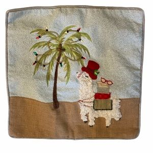 Pillow Sham Christmas Llama & Palm Tree Motif NWOT